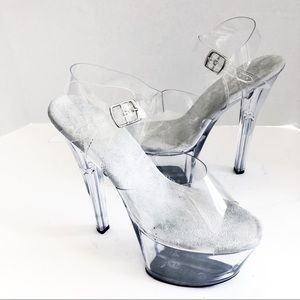 Pleasers (9) Clear Gray Platform Dancer Shoes